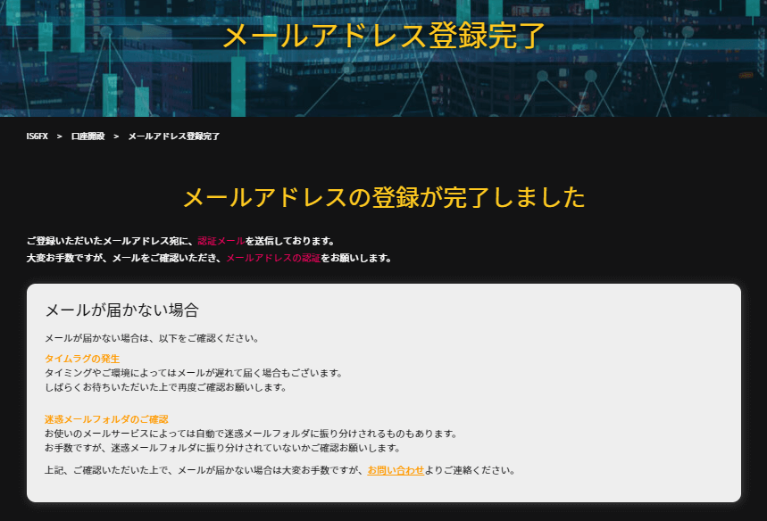 is6FXのアカウント登録後のメール認証