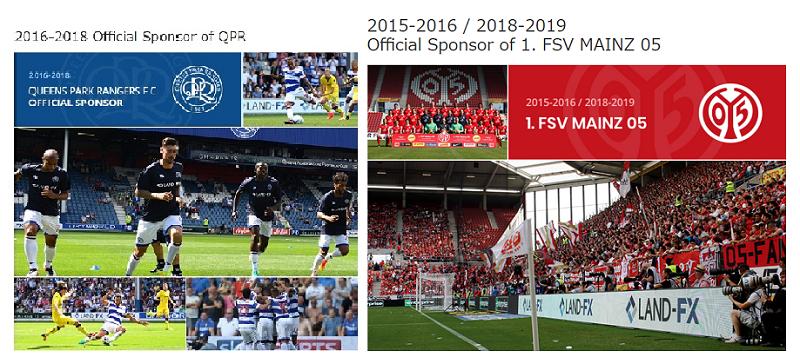 LandFXはサッカーのスポンサーとして積極的だ
