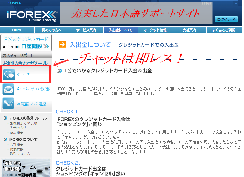iFOREXの日本語サポートは抜群!