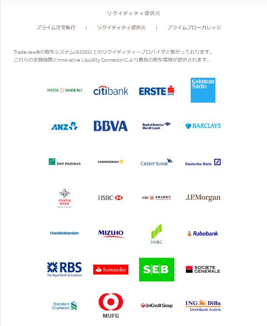 Tradeviewは200以上のリクイディティプロバイダーとの契約を公式サイトへ明記