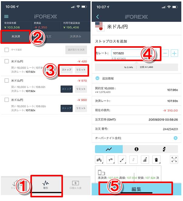 アイフォレックスのスマホアプリで損切注文、利確注文のやり方