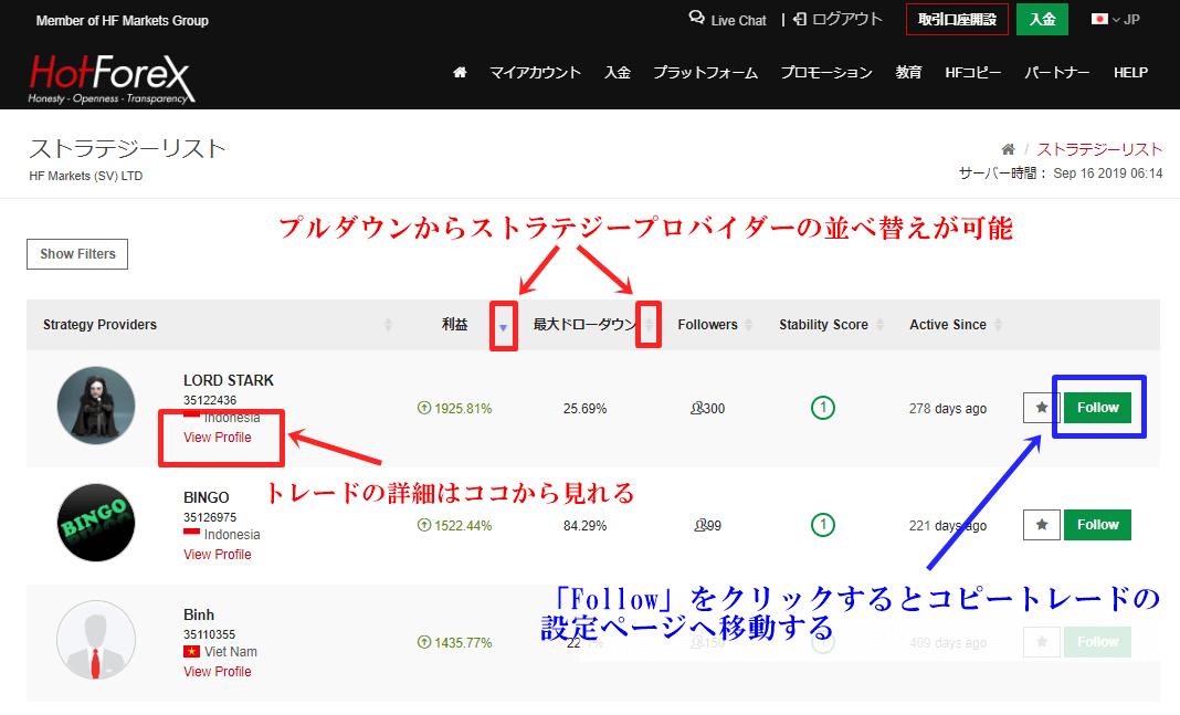 ストラテジープロバイダー一覧から「フォロー」をクリックするとコピートレードの詳細を決める画面に移動する
