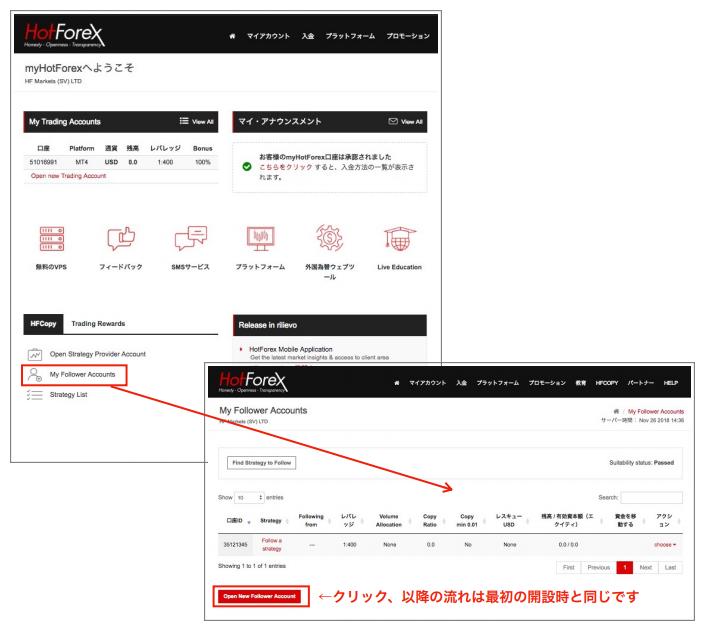 HotForexのコピートレード専用口座、HFコピー口座は3つまで口座開設することができます。