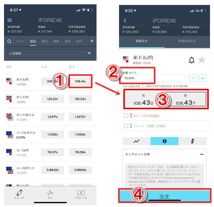 アイフォレックスのスマホアプリで成行注文のやり方(注文方法)