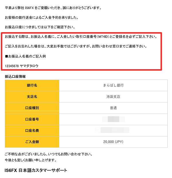 is6FXの入金方法(銀行振込入金)