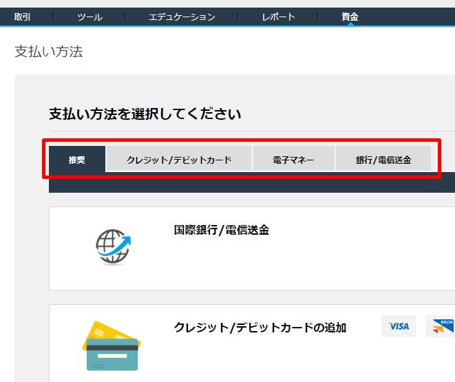 iFOREXの入金手順
