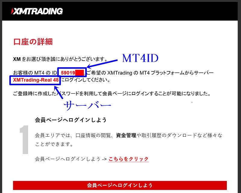 XMのMT4ログイン情報はXMから届くメールに記載されている。