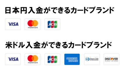 ビッターズのカード入金で利用できるカードブランド