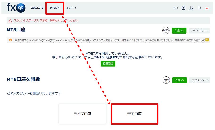 FXGTのデモ口座開設方法