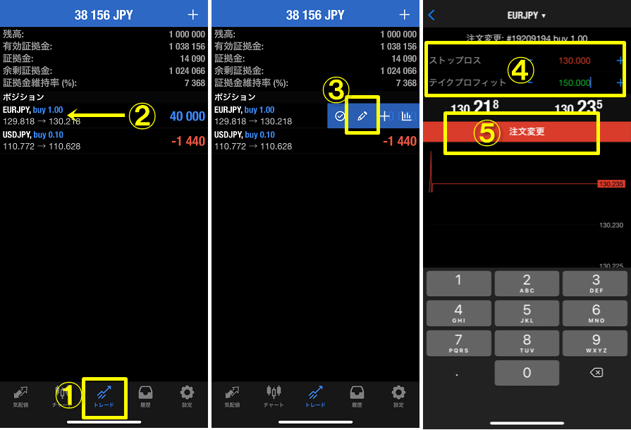 MT4スマホアプリ、スワイプして注文変更をするやり方