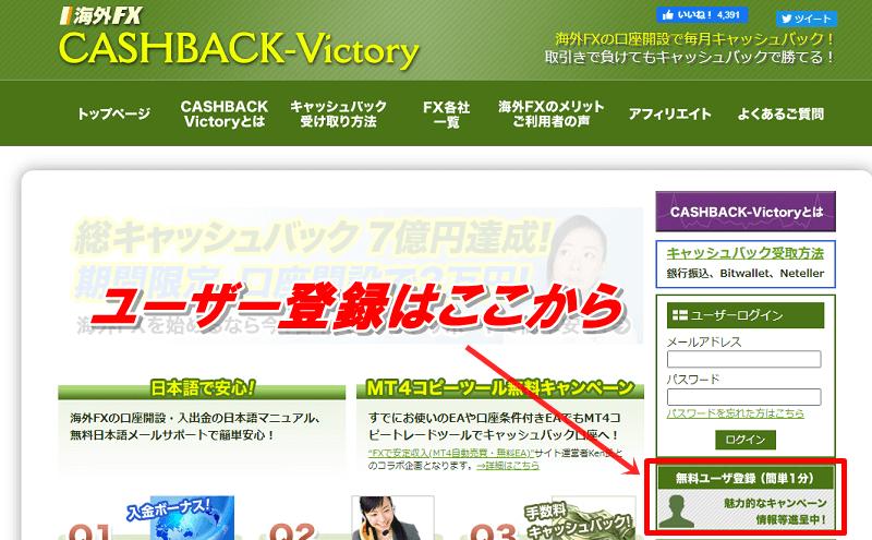 キャッシュバックビクトリーのユーザー登録方法